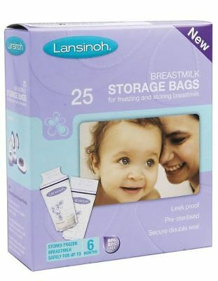 Lansinoh Pre-Sterilised Breastmilk Baby Breast Milk Storage Bags 1 Pack 25 • 7.95£