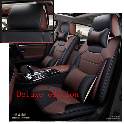 $ CDN301.42 • Buy Luxury Microfiber Leather Car Seat Cover Cushion 5-Seats Front+Rear With Pillows