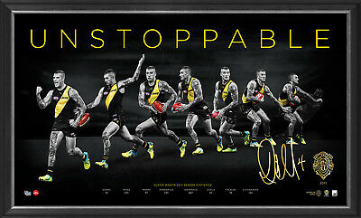 AU249 • Buy Dustin Martin Signed 2017 Brownlow Richmond AFL Print Framed Unstoppable DUSTY