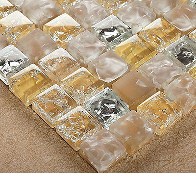 £6.48 • Buy New Cream Beige Crackle Glass, Silver Chrome Small Squares Mosaic Wall Tiles 8mm