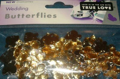 GOLD BUTTERFLIES - BUTTERFLY TABLE DIAMANTES - CONFETTI - 21gm • 1£