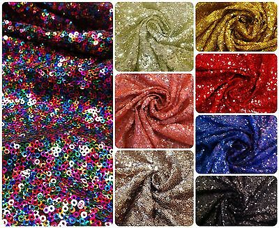$14.99 • Buy 3mm Micro Mini Holographic Or Plain Sequins On Nylon Mesh Fabric 50 Inches Wide