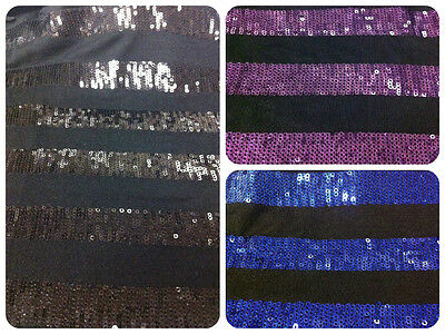 £7.26 • Buy 3mm Mini Sequins Thick Stripes Pattern On Black Stretch Rayon Spandex Fabric
