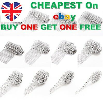 1 Metre SILVER Bling Diamonte Sparkling Diamond Effect Wedding Cake Ribbon Mesh • 0.99£