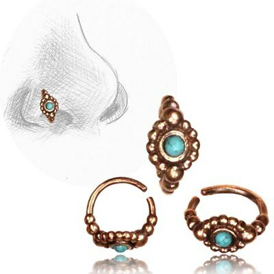 AU10.20 • Buy 20g Tribal Rose Brass Nose Ring 7mm Ring Nose Stud Helix 20g Turquoise Stone