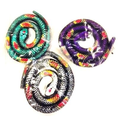 70CM  Stretchy Toy Metallic Coloured RUBBER SNAKE Joke - Assorted Colours • 3.69£