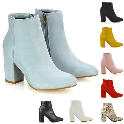 Womens Ankle Boots Block Mid High Cuban Heel Ladies Casual Smart Party Shoes 3-8 • 20.99£