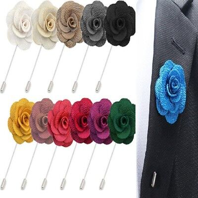 Smart Handmade Flower Brooch Boutonnière Suit Lapel Wedding Party Accessory UK • 2.99£