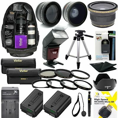 AU250.75 • Buy Sony Alpha A6000 Complete Hd 40.5mm Accessories Kit Lenses Tripod Backpack Flash