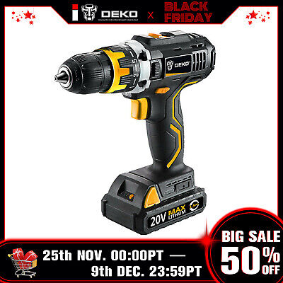 View Details DEKO 20V 32N.m DC Li-ion Battery 2-Speed Electric Cordless Drill  • 36.99$