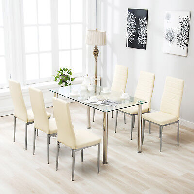 $215.90 • Buy 7 Piece Dining Table Set For 6 Chairs Clear Glass Metal Kitchen Room Breakfast