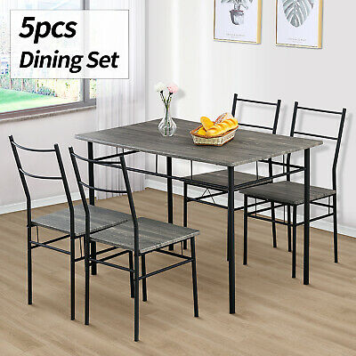 5 Piece Metal Dining Table Set 4 Chairs Wood Top Home Dining Room Furniture Grey • 129.90$