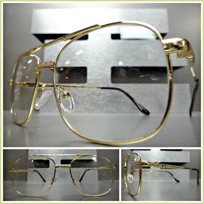 $19.99 • Buy New Men's CLASSIC VINTAGE RETRO Style Clear Lens EYE GLASSES Gold Fashion Frame