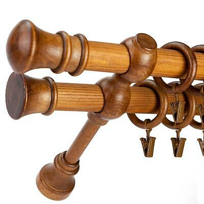 28/28mm Wooden Double Curtain Pole Rail SET Poles / Rings Clips Bracket, Oak • 27.99£
