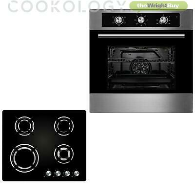 Cookology 60cm Single Built-in Electric Fan Oven & Gas-on-Glass Hob Kitchen Pack • 294.99£
