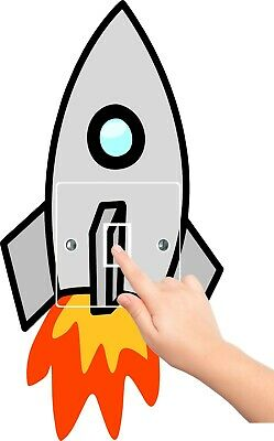 ROCKET Sticker LIGHT SWITCH SURROUND AND COVER SET Bedroom WALL ART SPACESHIP • 3.49£
