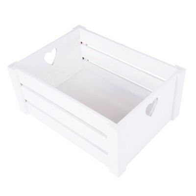 Pure White Lovely Heart Handle Wooden Crates Storage Shelves Box Christmas Gift • 12.99£