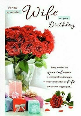 £3.49 • Buy For My Wonderful Wife Birthday Card  Red Roses