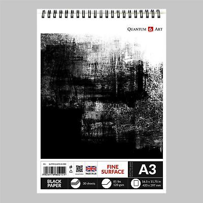 Sketch Pad Black Drawing Artist Paper On Spiral Book 30 Sheets - 60 Pages • 8.99£