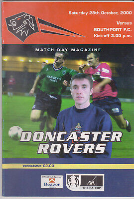 £3.42 • Buy Programme / Programma Doncaster Rovers V Southport FC 28-10-2000 FA Cup