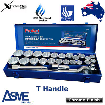 AU225.90 • Buy ProAm By KC Tools 26 Piece 3/4  Drive Metric & Imperial Chrome Plated Socket Set