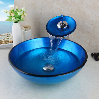 £119.28 • Buy Round Tempered Glass Bathroom Vessel Basin Sink Bowl+Chrome Faucet Blue Combo