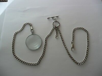£14.99 • Buy Monocle 6x Magnifier Double Albert Silver Plated  Pocket Watch Chain Fob T Bar