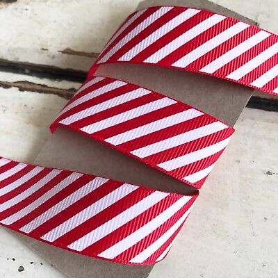 Red & White Candy Cane Stripe Grosgrain Ribbon 22mm 1M - Full 25M Roll - Craft • 4.95£