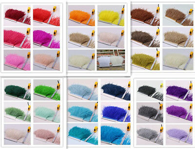 £5.99 • Buy 35 Colours Quality Ostrich Feather Fringe Trim For Millinery Hat Craft Dress 1 M