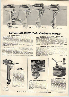 $9.98 • Buy 1956 PAPER AD Majestic Twin Outboard Motor 15 7.8 6 4.2 HP Kimball Water Skis