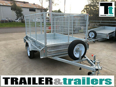 AU1750 • Buy 7x5 CAGE TRAILER – GALVANISED – 3FT CAGE – SPARE WHEEL - HEAVY DUTY - NEW WHEELS