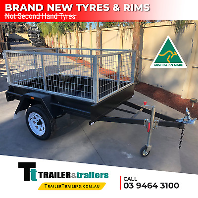 AU1610 • Buy 7x5 SINGLE AXLE BOX TRAILER - 2ft CAGE - SMOOTH FLOOR - FIXED FRONT - NEW TYRES