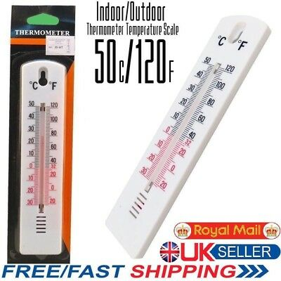 WALL THERMOMETER Fahrenheit & Celsius Outside Inside Garden Lab/Office Home Room • 2.99£