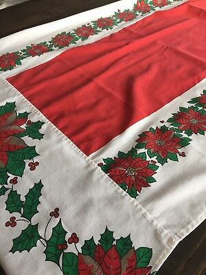 $ CDN22.88 • Buy Vintage Poinsettia Cotton Tablecloth 26 X 61  Christmas Holiday Large