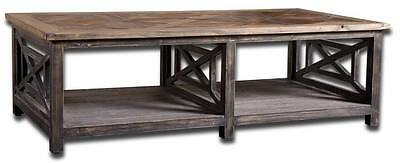 $875.60 • Buy Rustic Wood OPENWORK PINE Coffee Table Cocktail Cottage Antique Classic Black