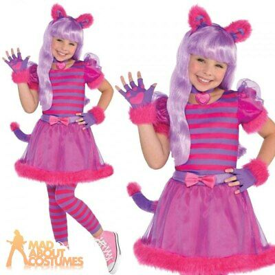 Girls Cheshire Cat Costume Teen Kids Pink Kitty Fancy Dress Halloween Outfit • 15.99£
