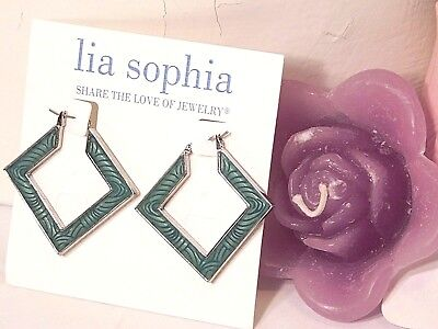 $ CDN14.26 • Buy Beautiful Lia Sophia SQUARE DANCE Hoop Earrings, Double Sided Design, NWT