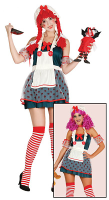 Womens Rag Doll Costume Ladies Halloween Fancy Dress Fairytale Cosplay Outfit • 9.99£