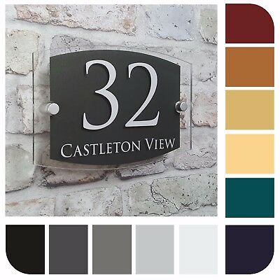 Modern House Number Sign Address Door Plaque Property Name Street Plate Acrylic  • 9.99£