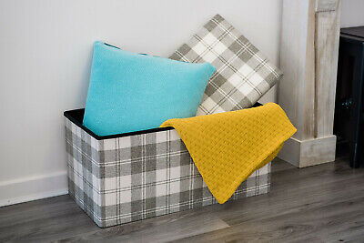Faux Linen Ottoman Pouffe Storage Toy Box Foot Stool 1&2 Seater Bench Seat Chest • 24.95£