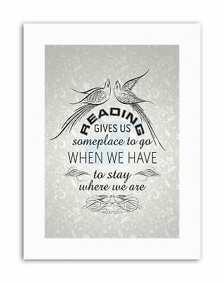READING GIVES SOMEPLACE STAY COOLEY WALLPAPER Poster Typography Quote Canvas • 12.50£