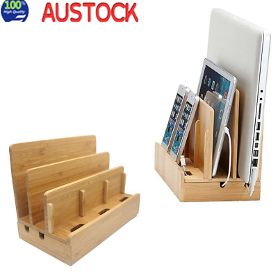 AU35.94 • Buy Bamboo Charging Dock Station Charger Holder Stand For Pad Smartphone IPhone AU