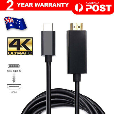 AU17.90 • Buy USB C To HDMI Cable USB 3.1 Type C Male To HDMI Male 4K Cable Macbook Chromebook