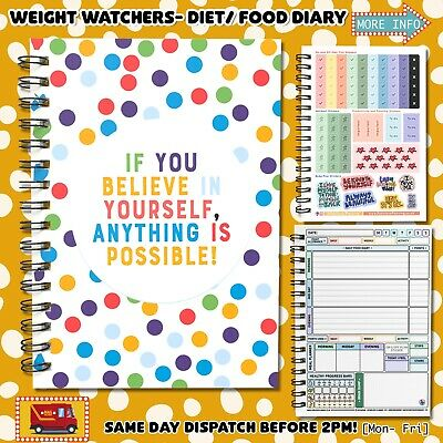 Food Diary Diet Journal Slimming Weight WATCHERS Extra Helpful Pages NWW C33 • 6.95£