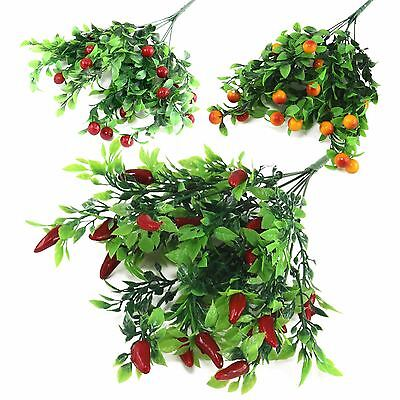 Plastic Chilli, Kumquat And Berry Bunches Artificial Fake Fruit Chili Vegetable  • 3.79£