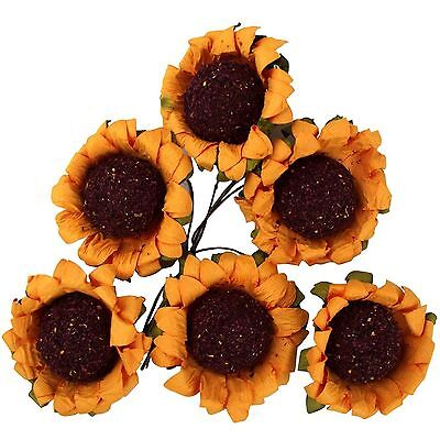 £2.29 • Buy 6x Flat Back Paper Sunflower Heads Craft Card Making Artificial Flowers