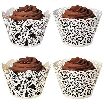 £3.29 • Buy Laser Cut Lace Effect Cupcake Wraps! Filigree Butterfly Cake Wrapper Case