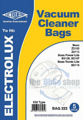 5 X ELECTROLUX E62 Vacuum Cleaner Dust Bags To Fit - The Boss Power Lite B3106 • 5.18£