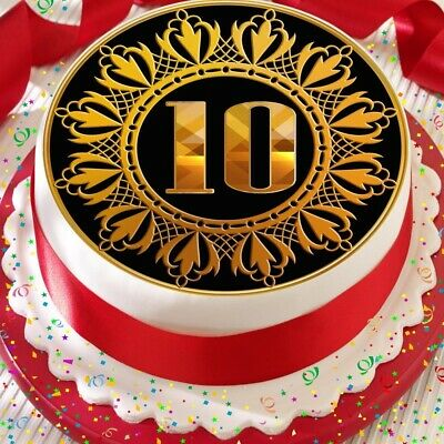 Gold 10th Age 10 Birthday Anniversary Precut Edible Cake Topper Decoration • 6.59£
