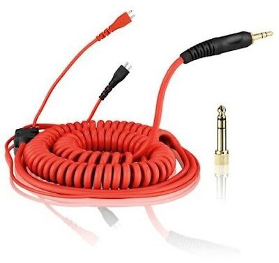 Replacement Coiled DeLuxe Cable For Sennheiser HD25 - HD-25 Headphones - Red • 40.99£